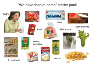 """Family, Food, and Fresh: """"We have food at home"""" starter pack  17  IUM  angry  riginal  PREMIUM  49  stale  RITA  AND  past its prime  hard  LA B  RICAS  SUN-MAID  RAISINS  96% empty  FAMILY PACK  25OR  FLOUR LAS  20  A BANDERITA  Del Monte  Ouality  nearly  MAD  Fresh Cut  MARVENT SELEC  Orios  unusable  LIMA BEANS  Fancy Natural  ARTICHOKE  K HEARTS  Campbella  CONDENSED 10  Calci-YUM!  GREAT for COOKING  JELLO  Creamof Celery  Cooke Serve  Fat Free  3+ years old  random  TapiocaPo  JELEO """"We have food at home"""" starter pack"""