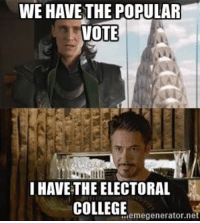 My Facebook feed in a nut shell: WE HAVE THE POPULAR  VOTE  I HAVE THE ELECTORAL  COLLEGE  megeneratornei My Facebook feed in a nut shell