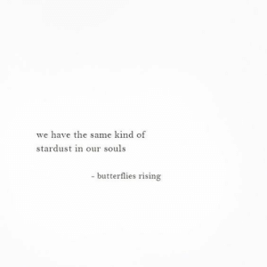 Stardust, Butterflies, and Same: we have the same kind of  stardust in our souls  - butterflies rising