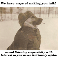 Never, You, and Feel: We have ways of making you talk!  and Iistening respectfully with  interest so you never feel Ionely again.
