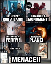 From @theblerdvision - The SpidermanHomecoming sequel starring JJJ be like. 😂 Was I the only one keeping a tally of all the things Spiderman did that the DailyBugle could twist? Lol. Watch out @tomholland2013: We have you covered  HE HELPED  ROBABANKI  DAMAGEDA  MONUMENT!  IG I THEBLERDVISION  DESTROYED A  CRASHED A  FERRY! PLANE!  AIL BUGLE  ELIKEI SAID..  HER  MENACE! From @theblerdvision - The SpidermanHomecoming sequel starring JJJ be like. 😂 Was I the only one keeping a tally of all the things Spiderman did that the DailyBugle could twist? Lol. Watch out @tomholland2013