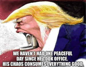 Office, Day, and Chaos: WE HAVENT HADONE PEACEFUL  DAY SINCE HETOOK OFFICE  HIS CHAOS CONSUMESEVERYTHINGGOOD
