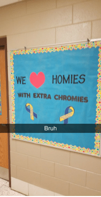 <p>Special needs teachers put this up today.</p>: WE HOMIES  WITH EXTRA CHROMIES  Bruh <p>Special needs teachers put this up today.</p>