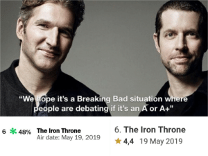 "iron throne: ""We hope it's a Breaking Bad situatión where  eople are debating if it's an A or A+""  6. The Iron Throne  6*48% The Iron Throne  Air date: May 19, 2019  4,4 19 May 2019"