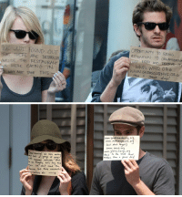 Emma Stone, Restaurant, and Restaurants: WE JUST FOUND OUT  THAT TREPE ARE OUTSIDE THE RESTAURANT  WERE EATING IN  WHY NOT TAKE THIS  ORRTUNIT TO BRING  ATTENTION TO ORGANleAmow  ELAT NEED AND VESERve IT  WWW INWO ORG  a great day!   I WR ware eating  Camaras outside.  we thouett, let's try this  in. We don't nend  Attention, thuse AI  do:  www. youth mentoring. or  www. autism speaks, or  land dint Aret  www. WWD. org  www. gildasclub nyc or  to the stuff that  Ham's  matters. Have a great day! never forget when emma stone and andrew garfield took advantage of the paparazzi to support charities