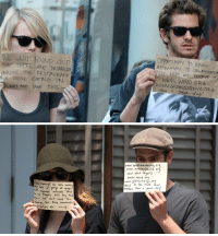 Funny, Emma Stone, and Restaurant: WE JUST FOUND OUT  THAT TREPE ARE OUTSIDE THE RESTAURANT  WERE EATING IN  WHY NOT TAKE THIS  ORRTUNIT TO BRING  ATTENTION TO ORGANleAmow  AT NEED AND VesERVE IT  WWW INWO ORG  a great day!   I WR ware eating  Camaras outside.  we thouett, let's try this  in. We don't nend  Attention, thuse AI  do:  www. youth mentoring. or  www. autism speaks, or  and dint Aret  www. WWD. org  www. gil tasclub nyc or  to the stuff that  Ham's  matters. H  a great day! never forget when emma stone and andrew garfield took advantage of the paparazzi to support charities