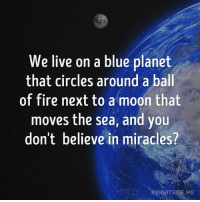 Blue: We live on a blue planet  that circles around a ball  of fire next to a moon that  moves the sea, and you  don't believe in miracles?  BRIGHTSIDE.ME