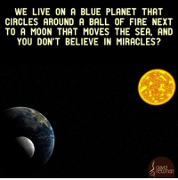 Ball of Fire: WE LIVE ON A BLUE PLANET THAT  CIRCLES AROUND A BALL OF FIRE NEXT  TO A MOON THAT MOVES THE SEA, AND  YOU DON'T BELIEVE IN MIRACLES?  david