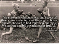 """virtu: """"We make men without chests and expect of  them virtue and enterprise. Welaugh at honor  and are shocked to find traitors in our midst.  We castrate and bid the geldings be fruitful  The Abolition of Man"""
