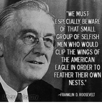 "Memes, American Eagle, and Eagle: ""WE MUST  ESPECIALLY BEWARE  OF THAT SMALL  GROUP OF SELFISH  MEN WHO WOULD  CLIP THE WINGS OF  THE AMERICAN  EAGLE IN ORDER TO  FEATHER THEIR OWN  NESTS.""  NfRANKLIN D. ROOSEVELT Image from Liberal Identity"