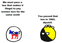 Anarchyball, Dipshit, and Illegal: We must pass a  law that makes it  illegal to pay  women less for the  Same work!  You passed that  law in 1963  dipshit! Svetoslav Svetlozarov