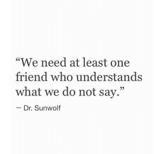 """One Friend: """"We need at least one  friend who understands  what we do not say.""""  92  Dr. Sunwolf"""