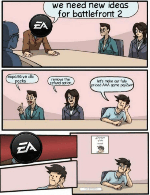 Game, Battlefront, and Aaa: we need new ideas  for battlefront  ZA  expansive dic  remove the  efund  cks  let's make our fuly  priced AAA game pay2w What really Happened