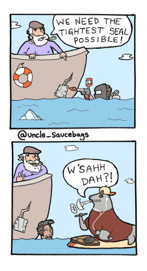Seal, Iceberg, and Damage: (WE NEED THE  TIGHTEST SEAL,  POSSIBLE!  @Uncle Saucebags  w'SAHH  DAH?! Repairing iceberg damage [OC]