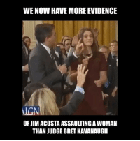 (Sarcasm) you fucks ... look it up: WE NOW HAVE MORE EVIDENCE  IGN  OF JIM ACOSTA ASSAULTING A WOMAN  THAN JUDGE BRET KAVANAUGIH (Sarcasm) you fucks ... look it up
