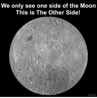 Memes, 🤖, and Spaces: We only see one side of the Moon  This is The Other Side!  NASA If the Moon didn't spin at all, then eventually it would show its far side to the Earth while moving around our planet in orbit. However, since the rotational period is exactly the same as the orbital period, the same portion of the Moon's sphere is always facing the Earth. neildegrassetyson moon science space astronomy darksideofthemoon