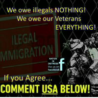 Facebook, Memes, and 🤖: We owe illegals NOTHING!  We owe our Veterans  EVERYTHING!  LEGAL  NATION  DISTRESS  like us on  facebook  If you Agree  COMMENT USA BELOW! Damn Straight....If you agree comment USA!!! #OathKeeper #USMC #ARMYSTRONG