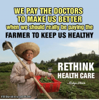 Memes, 🤖, and Robyn: WE PAY THE DOCTORS  TO MAKE US BETTER  when we should reali be paying the  FARMER TO KEEP US HEALTHY  RETHINK  HEALTH CARE  Robyn  FB/DavidAvocadoWolfe Yup...