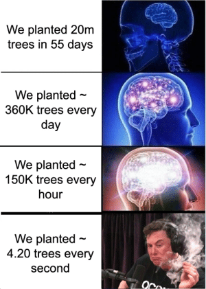 Took me longer to make than I'm willing to admit: We planted 20m  trees in 55 days  We planted  360K trees every  day  We planted  150K trees every  hour  We planted  4.20 trees every  second Took me longer to make than I'm willing to admit