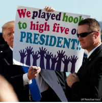 """Girls, Memes, and Dallas: We played hoo  to high five o  PRESIDENT  (AP Photo/Evan Vucci) Girls awaited President DonaldTrump's arrival in Dallas Wednesday, while holding a sign that read, """"We played hooky to high five our President!"""" While in Texas, Trump attended a briefing on HurricaneHarvey recovery efforts."""