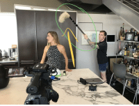We pranked the PA into thinking the house duster was a sound boom. It's been hours and he still has no idea.: We pranked the PA into thinking the house duster was a sound boom. It's been hours and he still has no idea.