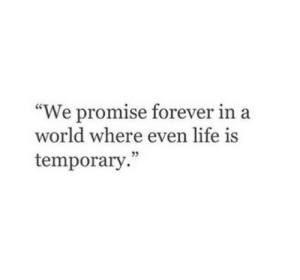 """In A World: """"We promise forever in a  world where even life is  temporary"""
