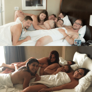 We recreated a photo of my wife's bachelorette party.: We recreated a photo of my wife's bachelorette party.