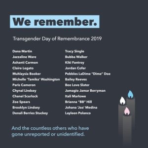 "plannedparenthood:Today we mourn, honor, and remember the transgender people who were murdered because of their gender identity or expression.: We remember.  Transgender Day of Remembrance 2019  Dana Martin  Tracy Single  Jazzaline Ware  Bubba Walker  Kiki Fantroy  Ashanti Carmon  Claire Legato  Jordan Cofer  Pebbles LaDime ""Dime"" Doe  Muhlaysia Booker  Michelle 'Tamika' Washington  Bailey Reeves  Paris Cameron  Bee Love Slater  Chynal Lindsey  Jamagio Jamar Berryman  Chanel Scurlock  Itali Marlowe  Zoe Spears  Brianna ""BB"" Hill  Brooklyn Lindsey  Johana Joa' Medina  Denali Berries Stuckey  Layleen Polanco  And the countless others who have  gone unreported or unidentified plannedparenthood:Today we mourn, honor, and remember the transgender people who were murdered because of their gender identity or expression."