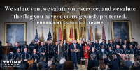 Deeply honored to welcome members of the Wounded Warrior Project  to The White House this morning. These are our nation's REAL HEROES!: We salute you, we salute your service, and we salute  the flag you have so courageously protected.  PRESIDENT DONALD J  TRUMP  TRUMP  PENCE Deeply honored to welcome members of the Wounded Warrior Project  to The White House this morning. These are our nation's REAL HEROES!