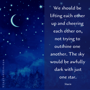 Facebook, Memes, and facebook.com: *We should be  lifting each other  up and cheering  each other on,  not trying to  outshine one  another. The sky  would be awfully  dark with just  one star.  Stacie https://www.facebook.com/tinybuddha/photos/a.10151314980076604/10155927446531604/?type=3&theater