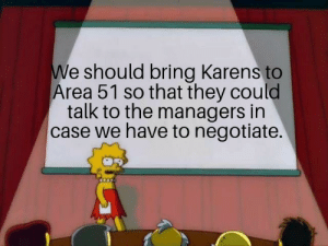 Reddit, Area 51, and Yes: We should bring Karens to  Area 51 so that they could  talk to the managers in  case we have to negotiate. YES WE CAN.