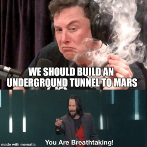 Meme, Mars, and Dank Memes: WE SHOULD BUILDAN  UNDERGROUND TUNNEL TO MARS  11  You Are Breathtaking!  made with mematic Not sure if they are allowed in the same meme but here we go 💦