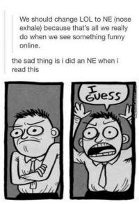 Funny, Lol, and Memes: We should change LOL to NE (nose  exhale) because that's all we really  do when we see something funny  online.  the sad thing is i did an NE when i  read this  Guess You know it's true...