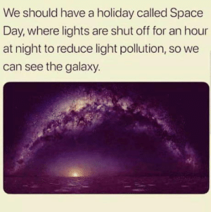 Space, Galaxy, and Light: We should have a holiday called Space  Day, where lights are shut off for an hour  at night to reduce light pollution, so we  can see the galaxy. A must have