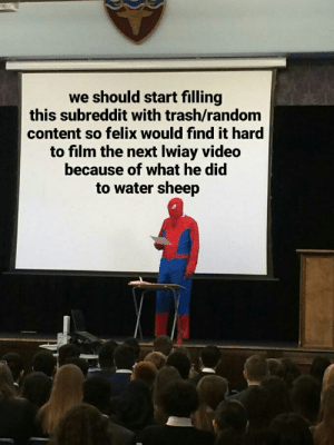 Trash, Justice, and Video: we should start filling  this subreddit with trash/random  content so felix would find it hard  to film the next lwiay video  because of what he did  to water sheep Justice for Water Sheep