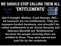 Memes, Food Stamps, and Entitled: WE SHOULD STOP CALLING THEM ALL  NATION  ENTITLEMENTS  ACE DOG  IN  DISTRESS  like us on  facebook  Get it straight: Welfare, Food Stamps, WIC...  ad nauseum are not entitlements. They are  taxpayer-funded handouts, and shouldn't be  called entitlements at all. Social Security and  Veterans Benefits are 'Entitlements  because the people recieving them are  entitled to them. They were earned and  paid for by the recipients. RE-POST THE TRUTH!  Follow Me @ Ace Dog III%