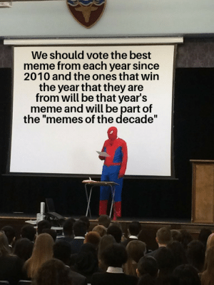 "Meme, Memes, and Best: We should vote the best  meme from each year since  2010 and the ones that win  the year that they are  from will be that year's  meme and will be part of  the ""memes of the decade"" Seems fair to me at least"