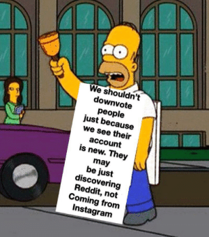 Instagram, Reddit, and Enemies: We shouldn't  downvote  people  just because  we see their  account  is new. They  may  be just  discovering  Reddit, not  Coming from  Instagram Not all of the new comers are our enemies