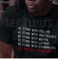 """I am against the Muslim ban. However, it is interesting to see the country once again in an uproar and fighting for a race-religion while STILL ignoring the Black Struggle. We stand for all while we stand alone."" ✊🏾via @tethrift Who will stand with us ? Available at www.tethrift.com @tethrift @tethrift @tethrift: WE STAND WITH MUSLIMS  WE WITH WE STAND WITH WOMEN  WE STAND WITH WE STAND WITH STANDING ROCK ""I am against the Muslim ban. However, it is interesting to see the country once again in an uproar and fighting for a race-religion while STILL ignoring the Black Struggle. We stand for all while we stand alone."" ✊🏾via @tethrift Who will stand with us ? Available at www.tethrift.com @tethrift @tethrift @tethrift"