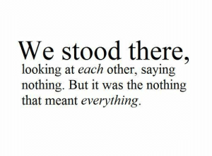 Looking, Nothing, and Everything: We stood there,  looking at each other, saying  nothing. But it was the nothing  that meant everything.