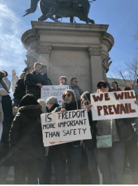 Today demonstrators across the nation exercised their First Amendment rights to destroy their Second Amendment right; the same amendment that protects and makes possible the former. 🤔 (LC): We Supporf  STUDEN  REMI PREVAIL  MORE IMPORTANT  THAN SAFETY Today demonstrators across the nation exercised their First Amendment rights to destroy their Second Amendment right; the same amendment that protects and makes possible the former. 🤔 (LC)