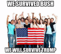 Memes, Image, and Images: WE SURVIVED BUSH  WE WILL SURVIVE TRUMP We elected a buffoon, an existential threat to democracy itself, as President-elect of the United States. In this dark hour, let us never forget the strength of our resolve. We survived Bush, we will survive Trump.   Image: Occupy Democrats