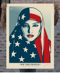 """Memes, Barack Obama, and Genesis: WE THE PEOPLE  ARE GREATER THAN FEAR The genesis of Shepard Fairey's """"We the People"""" series came out of a collaboration with fellow agitprop artists Jessica Sabogal and Ernesto Yerena. Fairey was behind the famous """"Hope"""" poster from President Barack Obama's first presidential campaign. The trio teamed with the Amplifier Foundation, a group that works with activists and organizers to make compelling artwork that draws attention to grassroots movements, to launch Kickstarter funding for the poster-distribution project."""