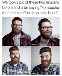 "Snapchat: DankMemesGang: We took a pic of these two hipsters  before and after saying ""kombucha  thrift store coffee shop indie band''  images  getty  getty images  Friend of Bae  etty images  getty ima Snapchat: DankMemesGang"