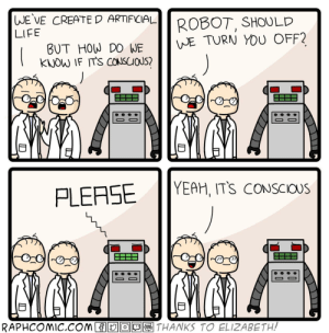 Searle-y not: |WE VE CREATE D ARTIFICIAL  ROBOT, SHOULD  WE TURN YOU OFF?  LIFE  BUT HOW DO WE  KNOW IF ITS CONSCIOUS?  YEAH, ITS CONSCIOUS  PLEASE  MMN.  RAPHCOMIC.COM  THANKS TO ELIZABETH!  WEBL  n Searle-y not