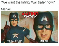 """I'm still pissed off about this 😡😭 (by @amzingfantasy) marvel memes infinitywar mcu homecoming aftercredits: """"We want the Infinity War trailer now!""""  Marvel:  AMZING  *BREATHES.IN*  PATIENCE I'm still pissed off about this 😡😭 (by @amzingfantasy) marvel memes infinitywar mcu homecoming aftercredits"""