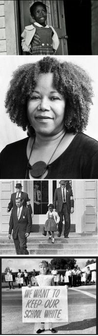Black History Month, Children, and Family: WE WANT TO  KEEP OUR  CHOOL WHITE <p>Black history month day 21: desegregation poster child Ruby Bridges.</p>  <p>Ruby Nell Bridges Hall was born September 8, 1954 in Tylertown, Mississippi. She is best known for being the first black child to desegregate the all-white William Frantz Elementary School in Louisiana during the New Orleans school desegregation crisis in 1960. </p>  <p>The Bridges family moved to Mississippi when Ruby was four. When she was six, her parents responded to a proposal from the NAACP to participate in the integration of the New Orleans school system, despite hesitation from her father.</p>  <p>Bridges was one of six black children in New Orleans to pass the test that determined whether they could go to the all-white school, William Frantz Elementary. Two of the six decided to stay at their old school, and the other three were transferred to another district to integrate a different school, so Bridges went to William Frantz by herself. She and her mother had to be escorted to school by four federal marshals during her first year. One of the marshals later remarked: &ldquo;She showed a lot of courage. She never cried. She didn&rsquo;t whimper. She just marched along like a little soldier, and we&rsquo;re all very very proud of her.&rdquo;</p>  <p>Though Bridges showed remarkable bravery for a six-year-old, situation was certainly not without its challenges. The marshals would only allow her to eat food brought from her home due to one woman&rsquo;s repeated threats to poison her. Another woman stuck a black baby doll in a wooden coffin and held outside the school in protest. Bridges said later that that frightened her more than any of the things they shouted. She began the practice of praying while she walked, which helped her block out the nasty comments, and she also saw a child psychiatrist named Robert Coles who helped her cope. Only one teacher, Barbara Henry, agreed to teach Ruby and did so for over a year, teaching as though she was teaching the whole class.</p>  <p>Bridges still lives in New Orleans with her husband, Malcolm Hall, and their four sons. She is now chair of the Ruby Bridges Foundation, formed in 1999 to promote &ldquo;the values of tolerance, respect, and appreciation of all differences&rdquo;. In describing the mission of her foundation, Bridges stated: &ldquo;racism is a grown-up disease and we must stop using our children to spread it.&rdquo;</p>