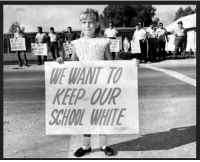 <p>This picture from my Ruby Bridges post is the one that especially broke my heart. This is a little girl who was about Ruby&rsquo;s age. In better circumstances she might&rsquo;ve been Ruby&rsquo;s friend. But thanks to the hatred instilled in her by her parents, she is used to perpetuate racist ideals. Keep in mind this didn&rsquo;t happen very long ago. There&rsquo;s a better than average chance this girl is still alive and I can only hope she knows better now. I think Bridges herself said it best: &ldquo;racism is a grown-up disease and we must stop using our children to spread it.&rdquo;</p>: WE WANT TO  KEEP OUR  CHOOL WHITE <p>This picture from my Ruby Bridges post is the one that especially broke my heart. This is a little girl who was about Ruby&rsquo;s age. In better circumstances she might&rsquo;ve been Ruby&rsquo;s friend. But thanks to the hatred instilled in her by her parents, she is used to perpetuate racist ideals. Keep in mind this didn&rsquo;t happen very long ago. There&rsquo;s a better than average chance this girl is still alive and I can only hope she knows better now. I think Bridges herself said it best: &ldquo;racism is a grown-up disease and we must stop using our children to spread it.&rdquo;</p>
