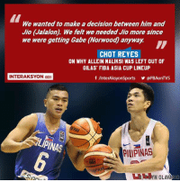 Memes, Okay, and International: We wanted to make a decision between him and  Jio (Jalalon). We felt we needed Jio more since  we were getting Gabe (Norwood) anyway.  CHOT REYES  ON WHY ALLEIN MALIKSI WAS LEFT OUT OF  GILAS FIBA ASIA CUP LINEUP  INTERAKSYON  f AnterAksyonSports @PBAonTVs  PINAS  PILIPINAS  YN OLAV  10 Ayun naman pala. Respeto nalang sa desisyon ng Coach.  PS: Pero para sakin okay naman si Jalalon, nakita naman natin laro nya nung Jones Cup at SEABA, wala ng kaba sa katawan. kailangan na agad ihasa kasi ilang taon lang aalis na si Castro sa Gilas, tsaka medyo hindi team player si Maliksi kita naman sa tournaments na puro lang tira. pag pilit na dun nya lang ipapasa. tapos pag fastbreak titira nya sa 3pts tapos sablay. Ang kailangan sa international is a very consistent SHOOTER & TEAM PLAYER.  PPS: ''Opinyon ko lang yan'' mga ka-memes. Kayo ba?  MALIKSI or JALALON?