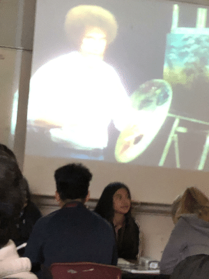 Bad, Phone, and School: We watched bob ross at school. (Sorry for bad quality I took this as fast as I could before the teacher took my phone)